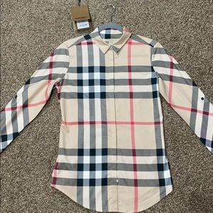 Burberry Check Cotton Oversized Shirt - Size S